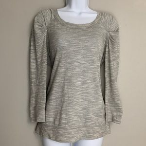 Free People Gray White Cotton Long Sleeve Top M C3